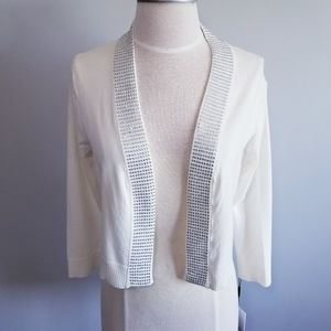 NWT CALVIN KLEIN OPEN FRONT 3/4 CROPPED CARDIGAN